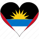 antigua and barbuda, flag, heart, north america, national