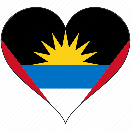 antigua and barbuda, flag, heart, national, north america icon