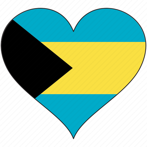 bahamas, country, flag, heart, love, north america icon