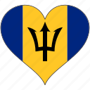 barbados, flag, heart, north america, national