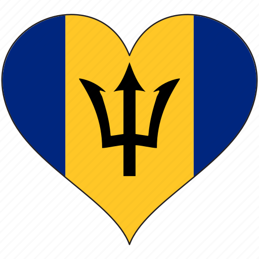barbados, flag, heart, national, north america icon