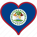 belize, flag, heart, north america, national