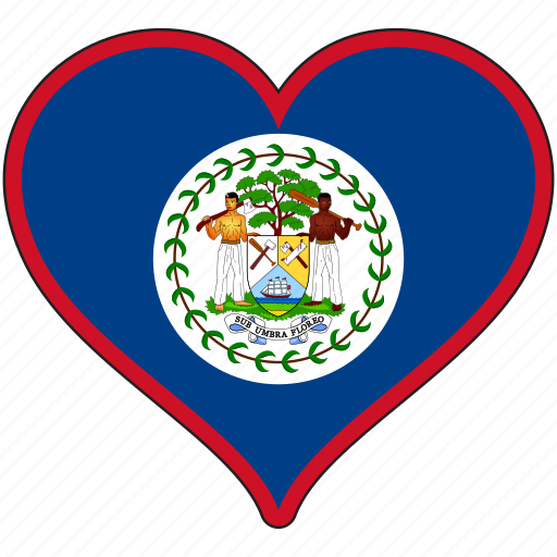 belize, flag, heart, national, north america icon