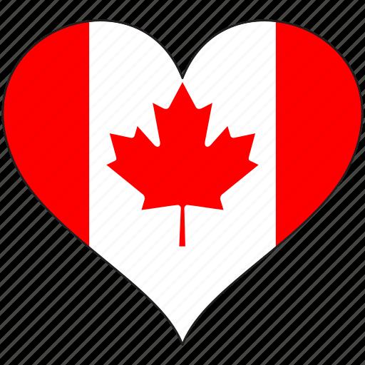 canada, flag, heart, love, national, north america icon