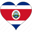 costa rica, flag, heart, north america, national