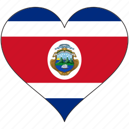 costa rica, flag, heart, national, north america icon