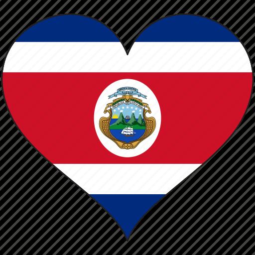 costa rica, flag, heart, national, north america icon