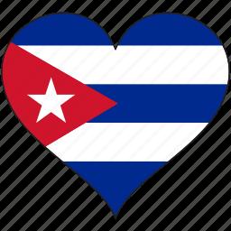 country, cuba, flag, heart, love, north america icon