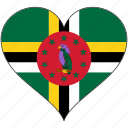country, dominica, flag, heart, love, north america icon