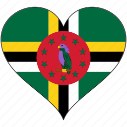 country, dominica, flag, heart, love, north america icon