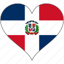 dominican republic, flag, heart, north america, national