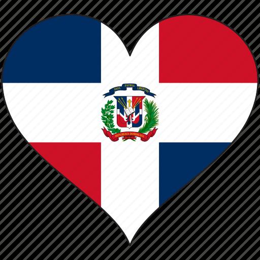 dominican republic, flag, heart, national, north america icon