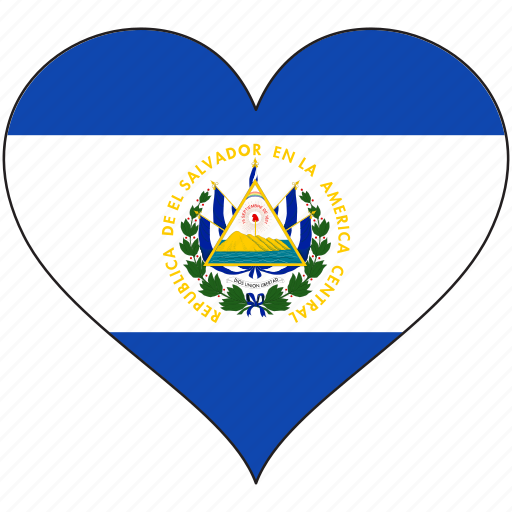 country, el salvador, flag, heart, north america icon