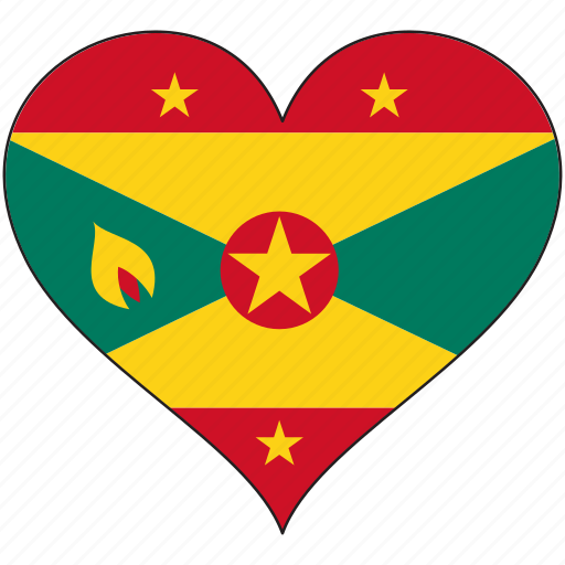 country, flag, grenada, heart, north america icon