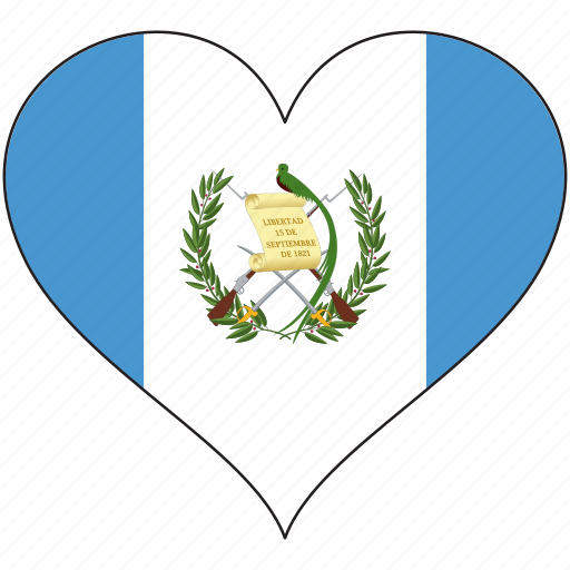 country, flag, guatemala, heart, north america icon