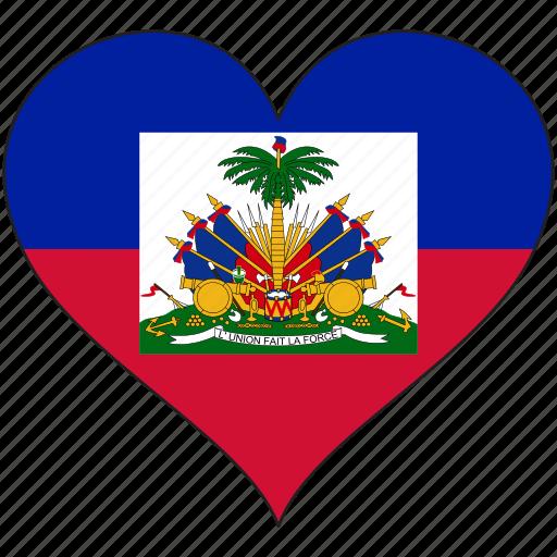 flag, haiti, heart, national, north america icon