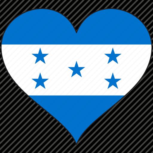 flag, heart, honduras, national, north america icon