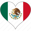flag, heart, mexico, north america, national