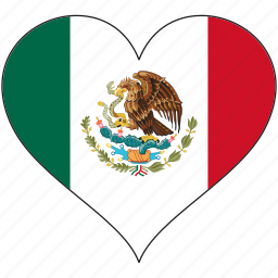 flag, heart, mexico, national, north america icon