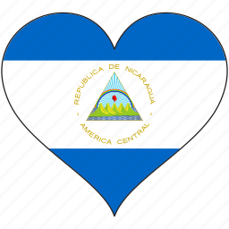country, flag, heart, love, nicaragua, north america icon
