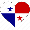 flag, heart, north america, panama, national