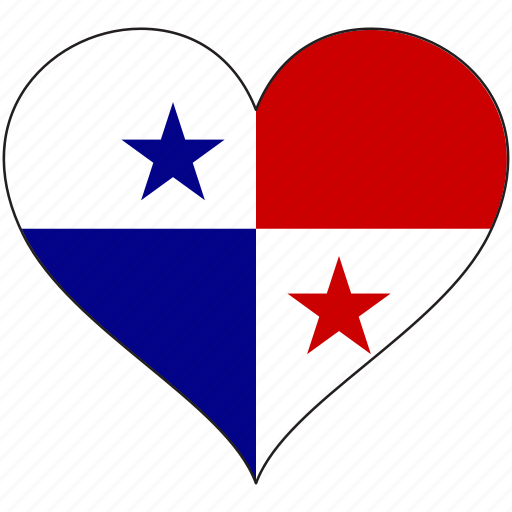 flag, heart, national, north america, panama icon