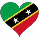 flag, heart, north america, saint kitts and nevis, national