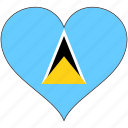flag, heart, north america, saint lucia, national