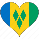 flag, heart, north america, saint vincent and the grenadines, national