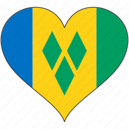 flag, heart, national, north america, saint vincent and the grenadines icon