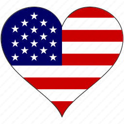 america, american, flag, heart, states, us, usa icon