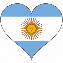 argentina, country, flag, heart, love, south america icon