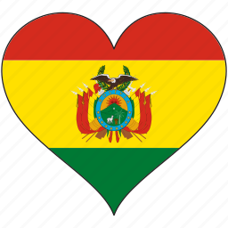 bolivia, country, flag, heart, love, south america icon