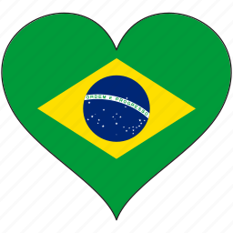 brazil, country, flag, heart, love, south america icon