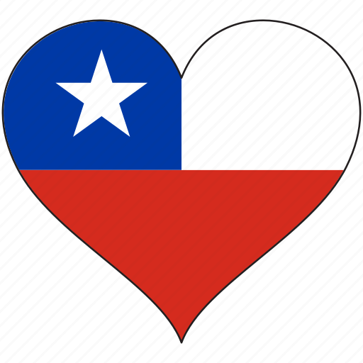 chile, country, flag, heart, south america icon