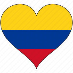colombia, country, flag, heart, south america icon