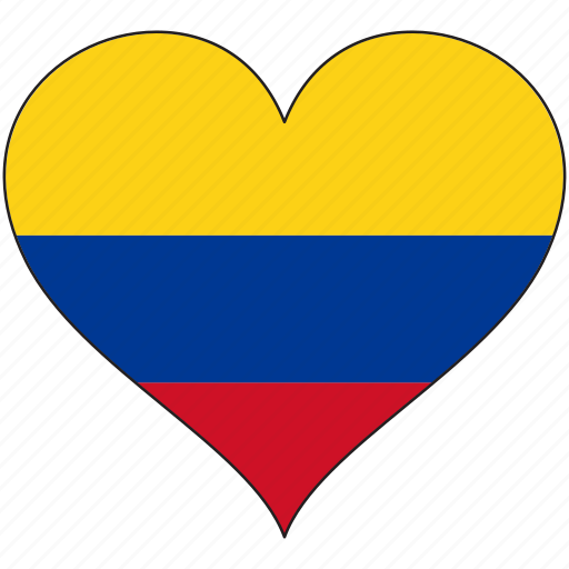 Colombia, flag, heart, south america, country icon - Download on Iconfinder