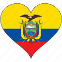 country, ecuador, flag, heart, south america icon