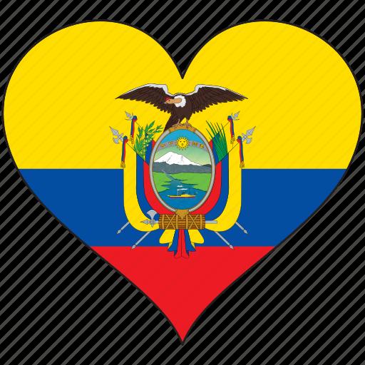 country, ecuador, flag, heart, south america icon