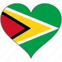country, flag, guyana, heart, south america icon