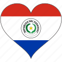 country, flag, heart, paraguay, south america icon