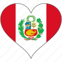 country, flag, heart, peru, south america icon