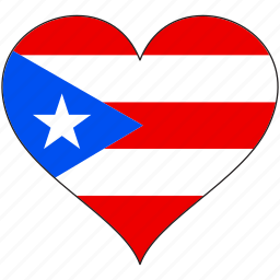 country, flag, heart, puerto rico, south america icon