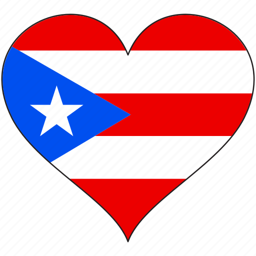 Flag, heart, puerto rico, south america, country icon - Download on Iconfinder