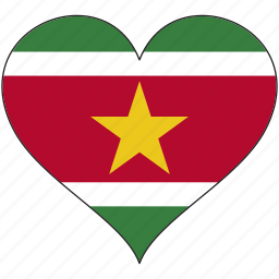 country, flag, heart, south america, suriname icon