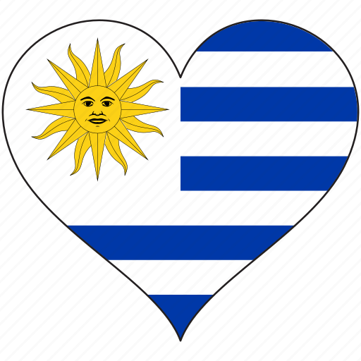 country, flag, heart, south america, uruguay icon