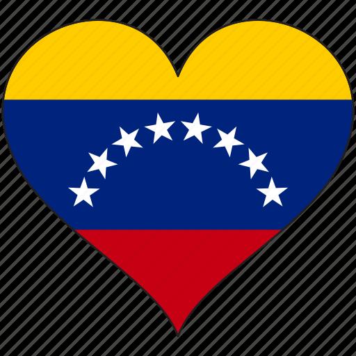 country, flag, heart, love, south america, venezuela icon
