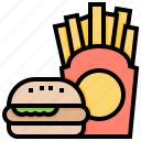 fast, food, frenchfried, hamburger, meal icon