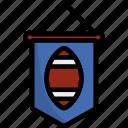 line, outline, football, flag, pennant, banner, sport