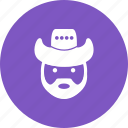 cowboy, hat, male, man, person, west, wild icon